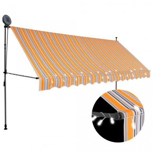 Copertin? retractabil? manual cu LED, galben & albastru, 350 cm