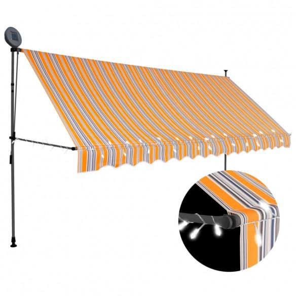 Copertin? retractabil? manual cu LED, galben & albastru, 400 cm