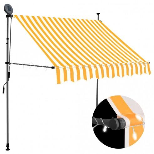 Copertin? retractabil? manual cu LED, alb & portocaliu, 200 cm