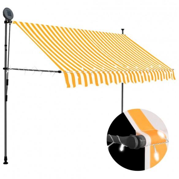 Copertin? retractabil? manual cu LED, alb & portocaliu, 300 cm