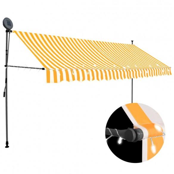 Copertin? retractabil? manual cu LED, alb & portocaliu, 350 cm
