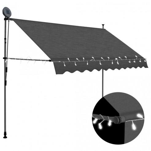Copertin? retractabil? manual cu LED, antracit, 250 cm