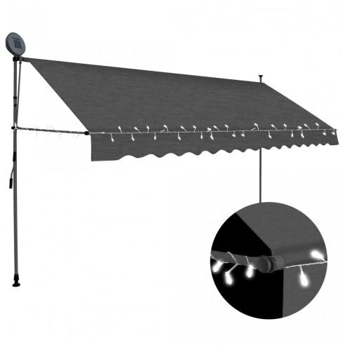 Copertin? retractabil? manual cu LED, antracit, 350 cm