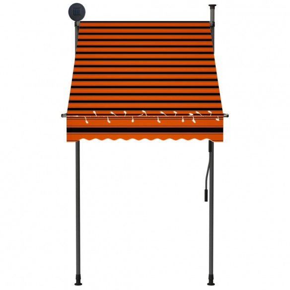 Copertin? retractabil? manual cu LED, portocaliu & maro, 100 cm