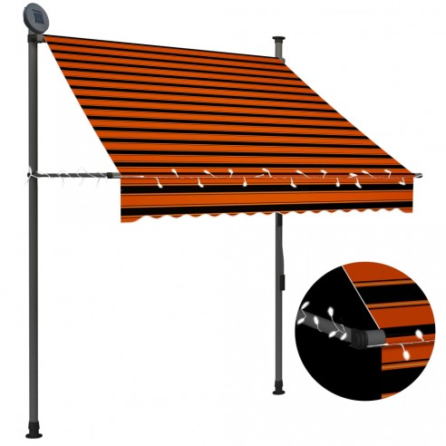 Copertin? retractabil? manual cu LED, portocaliu & maro, 150 cm