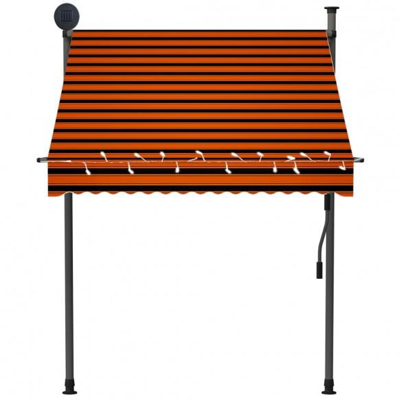 Copertin? retractabil? manual cu LED, portocaliu & maro, 150 cm