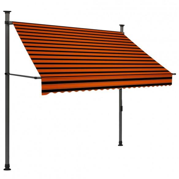 Copertin? retractabil? manual cu LED, portocaliu & maro, 200 cm