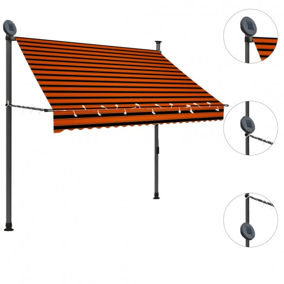 Copertin? retractabil? manual cu LED, portocaliu & maro, 200 cm