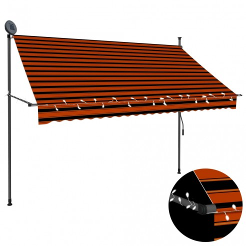 Copertin? retractabil? manual cu LED, portocaliu & maro, 250 cm