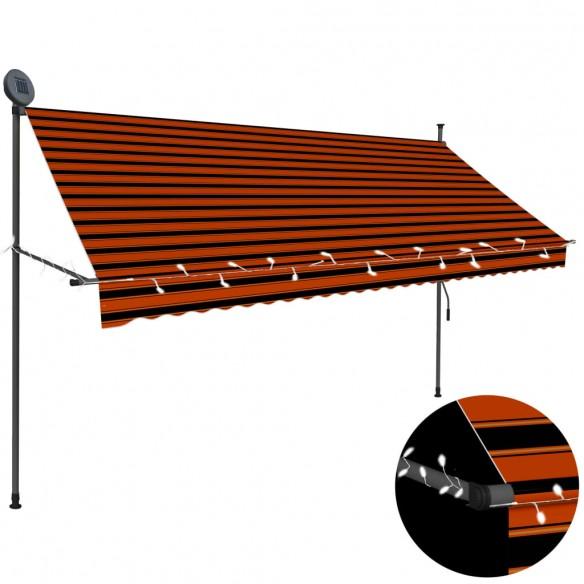Copertin? retractabil? manual cu LED, portocaliu & maro, 300 cm