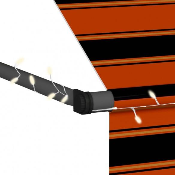 Copertin? retractabil? manual cu LED, portocaliu & maro, 350 cm