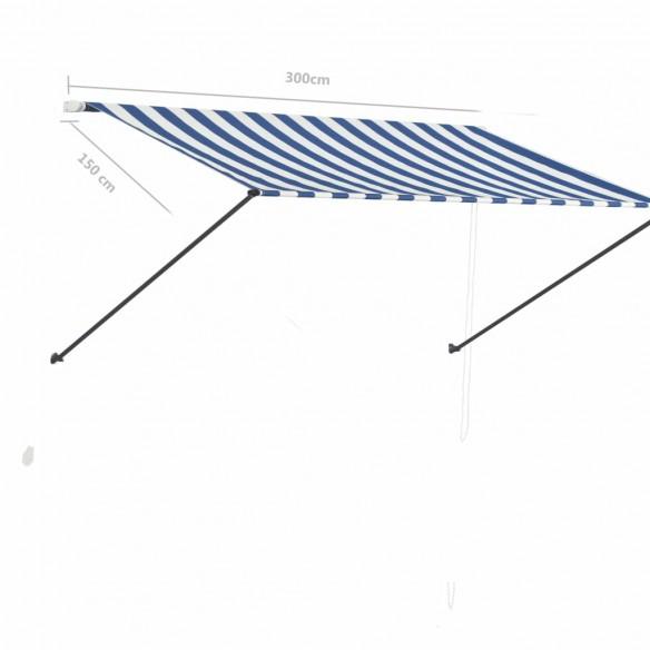 Copertin? retractabil? cu LED, albastru ?i alb, 300 x 150 cm