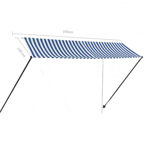 Copertin? retractabil? cu LED, albastru ?i alb, 350 x 150 cm