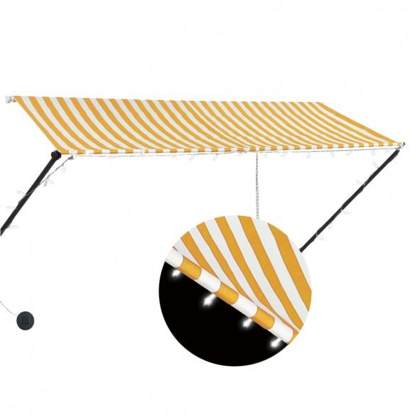 Copertin? retractabil? cu LED, galben ?i alb, 300 x 150 cm