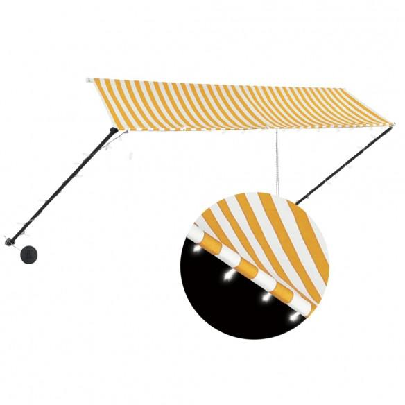 Copertin? retractabil? cu LED, galben ?i alb, 350 x 150 cm