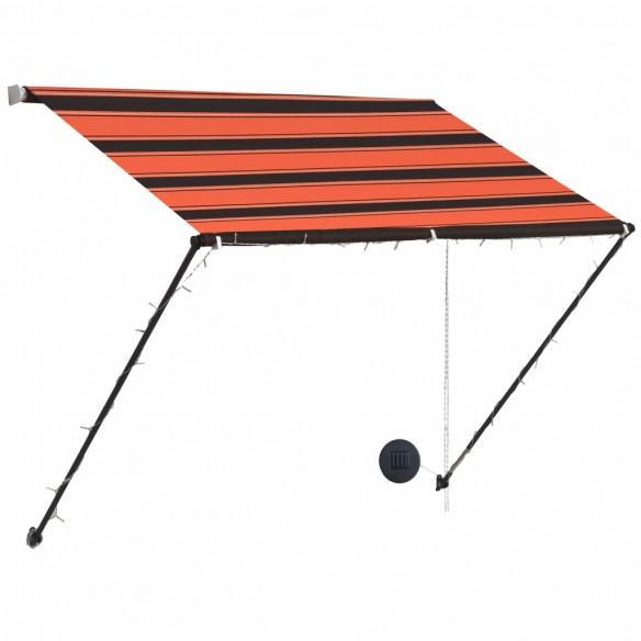 Copertin? retractabil? cu LED, portocaliu ?i maro, 150 x 150 cm