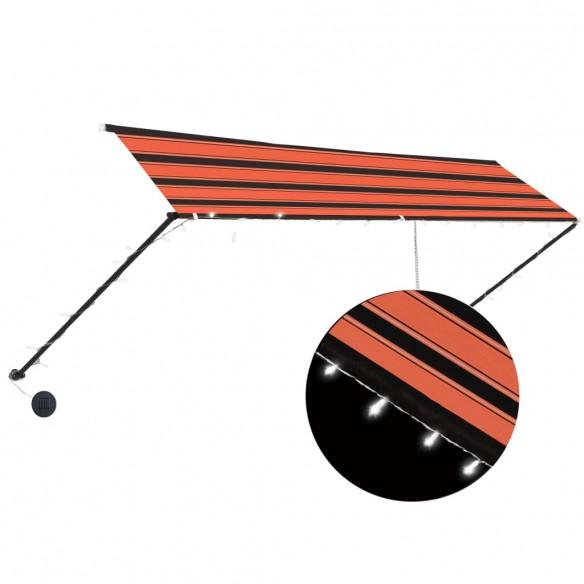 Copertin? retractabil? cu LED, portocaliu & maro, 400 x 150 cm