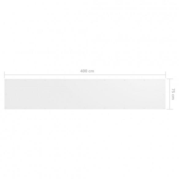 Paravan de balcon, alb, 75 x 400 cm, ?es?tur? oxford