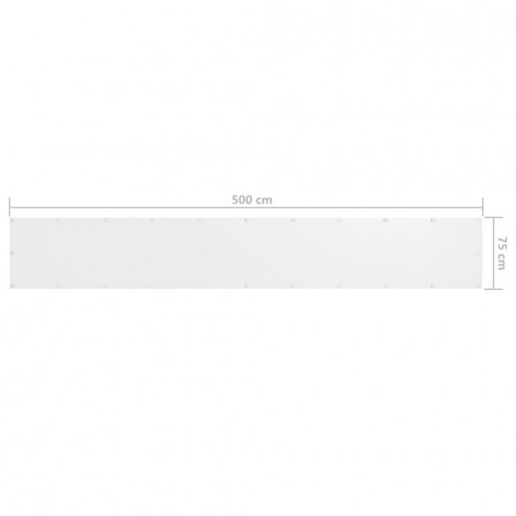 Paravan de balcon, alb, 75 x 500 cm, ?es?tur? oxford