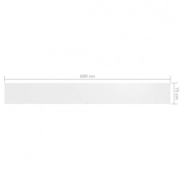 Paravan de balcon, alb, 75 x 600 cm, ?es?tur? oxford
