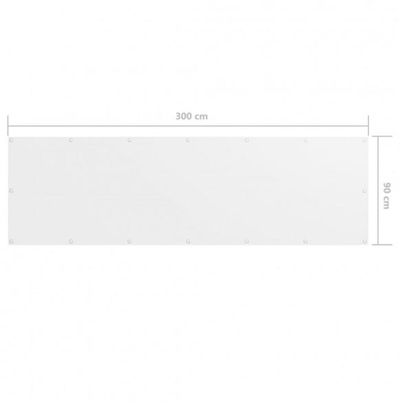 Paravan de balcon, alb, 90 x 300 cm, ?es?tur? oxford
