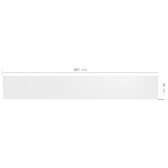 Paravan de balcon, alb, 90 x 600 cm, ?es?tur? oxford