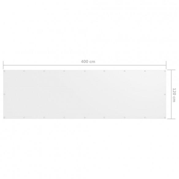 Paravan de balcon, alb, 120 x 400 cm, ?es?tur? oxford