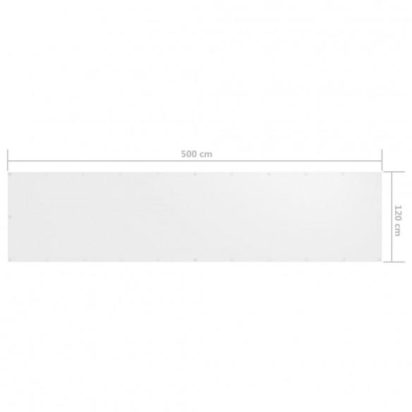 Paravan de balcon, alb, 120 x 500 cm, ?es?tur? oxford