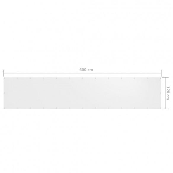 Paravan de balcon, alb, 120 x 600 cm, ?es?tur? oxford