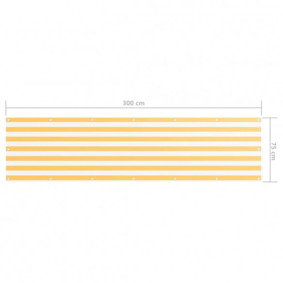 Paravan de balcon, alb ?i galben, 75 x 300 cm, ?es?tur? oxford