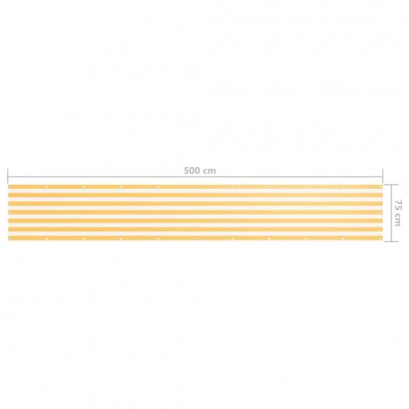 Paravan de balcon, alb ?i galben, 75 x 500 cm, ?es?tur? oxford
