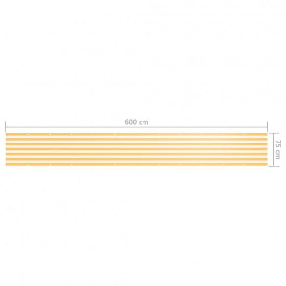 Paravan de balcon, alb ?i galben, 75 x 600 cm, ?es?tur? oxford