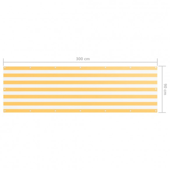 Paravan de balcon, alb ?i galben, 90 x 300 cm, ?es?tur? oxford