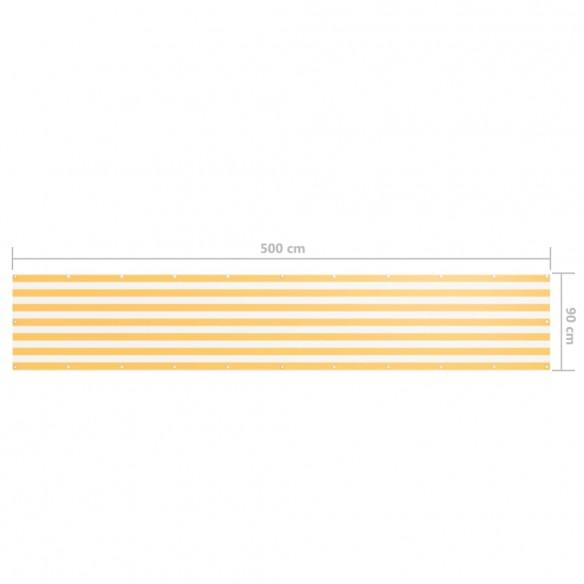 Paravan de balcon, alb ?i galben, 90 x 500 cm, ?es?tur? oxford