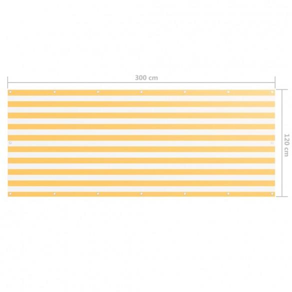 Paravan de balcon, alb ?i galben, 120 x 300 cm, ?es?tur? oxford