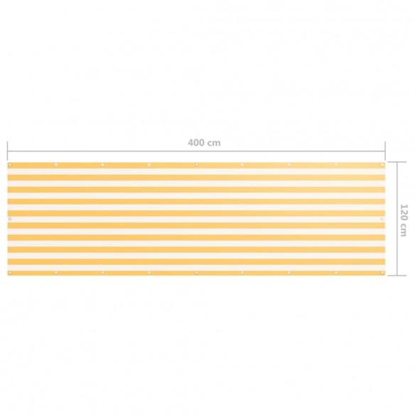Paravan de balcon, alb ?i galben, 120 x 400 cm, ?es?tur? oxford