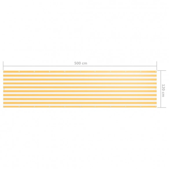 Paravan de balcon, alb ?i galben, 120 x 500 cm, ?es?tur? oxford