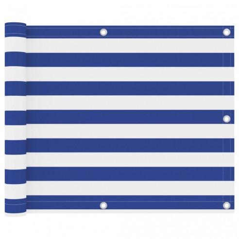 Paravan de balcon, alb ?i albastru, 75 x 500 cm ?es?tur? oxford