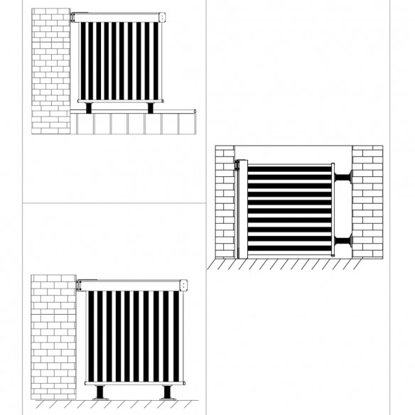 Copertin? lateral? multifunc?ional? balcon, negru, 150x200 cm