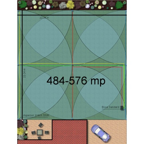 Kit irigare gazon 484-576 m2 Irritrol cu programator pe baterie 9V